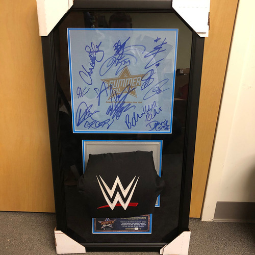 Photo of SummerSlam 2018 SIGNED Used Ring Canvas & Used Turnbuckle Commemorative Plaque (#6 of 12)