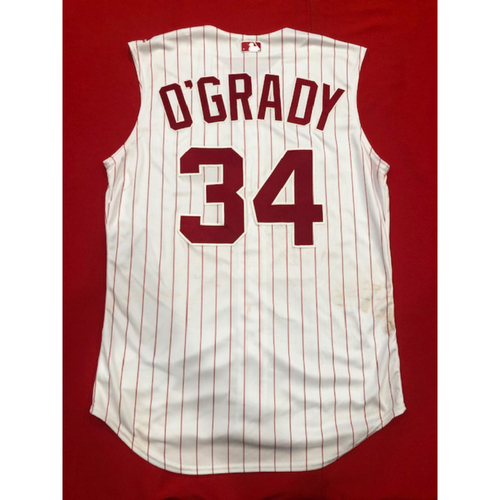 Photo of Brian O'Grady -- Game-Used 1995 Throwback Jersey & Pants (Starting CF: Went 1-for-2) -- D-backs vs. Reds on Sept. 8, 2019 -- Jersey Size 46 / Pants Size 37-44-20