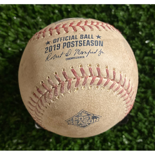 Photo of Game Used Baseball - Pitcher: Jack Flaherty, Batter: Freddie Freeman, Two balls. 10/9/19 - Bottom of 5th Inning