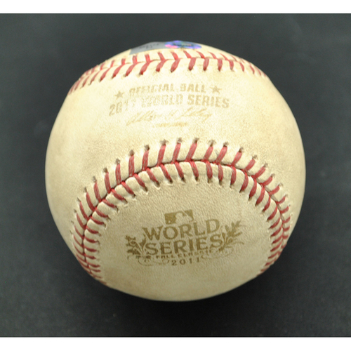 Photo of Game-Used Baseball - 2011 World Series - St. Louis Cardinals vs. Texas Rangers - Batter - Adrian Beltre, Pitcher - Chris Carpenter - Foul Ball - Bottom 2 - Game 5 - 10/24/2011
