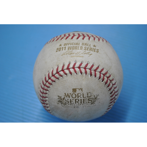 Photo of Game-Used Baseball - 2011 World Series - Game 2 - Pitcher: Jason Motte, Batter - Elvis Andrus - Single - 9th Inning