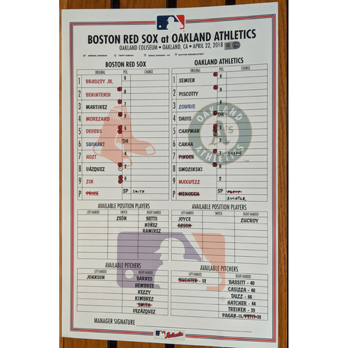 April 22, 2018 Boston Red Sox at Oakland Athletics Game Used Lineup Card - A's Win 4 to 1