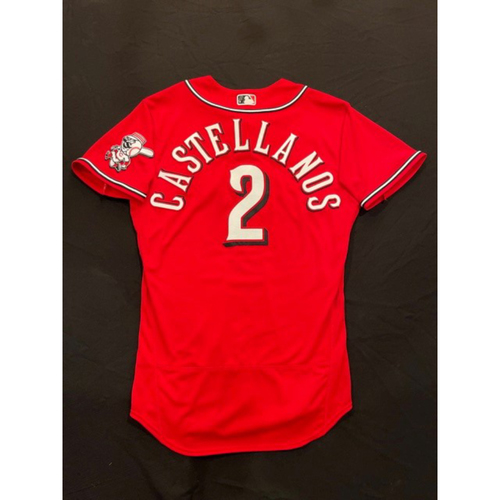 Photo of Nick Castellanos -- 2021 Los Rojos Jersey -- Game Used from May 5 & Sept 24 (Starting RF: Went 2-for-5, HR-30, 2 RBI, R) -- First Career 30-HR Season -- Size: 42