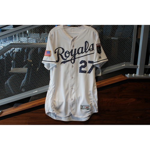 Photo of Game-Used Stars & Stripes Jersey: Adalberto Mondesi (Size 44 - CLE @ KC - 7/4/18)