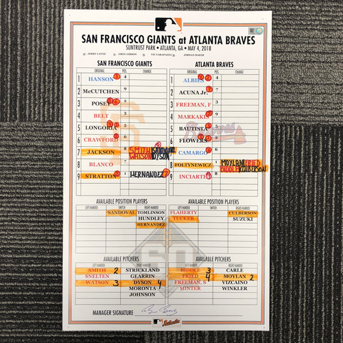Photo of 2018 San Francisco Giants Game Used Line Up Card - @ Atlanta Braves on 5/4/18 - Ronald Acuna Jr. 2018 National League Rookie of the Year