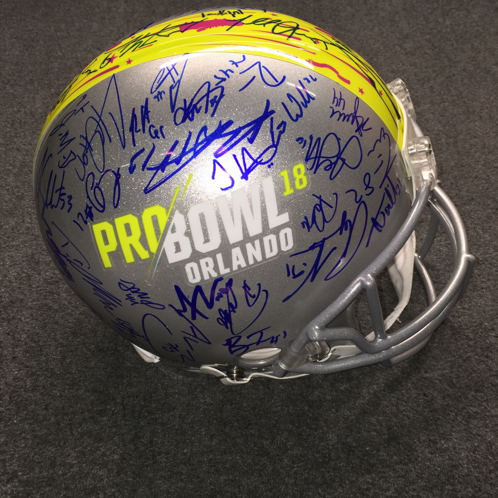 California Fire Relief - 2018 Pro Bowl multi signed proline helmet w/ over 60 signatures (including Russell Wilson, Drew Brees, Le'Veon Bell, Todd Gurley, Derek Carr, Alvin Kamara)