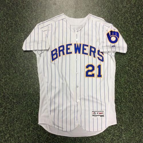 Photo of Travis Shaw 2018 Game-Used Retro Pinstripe Jersey (4/6 - HR #1, 5/25 - HR #13, 9/30 - HR #32)