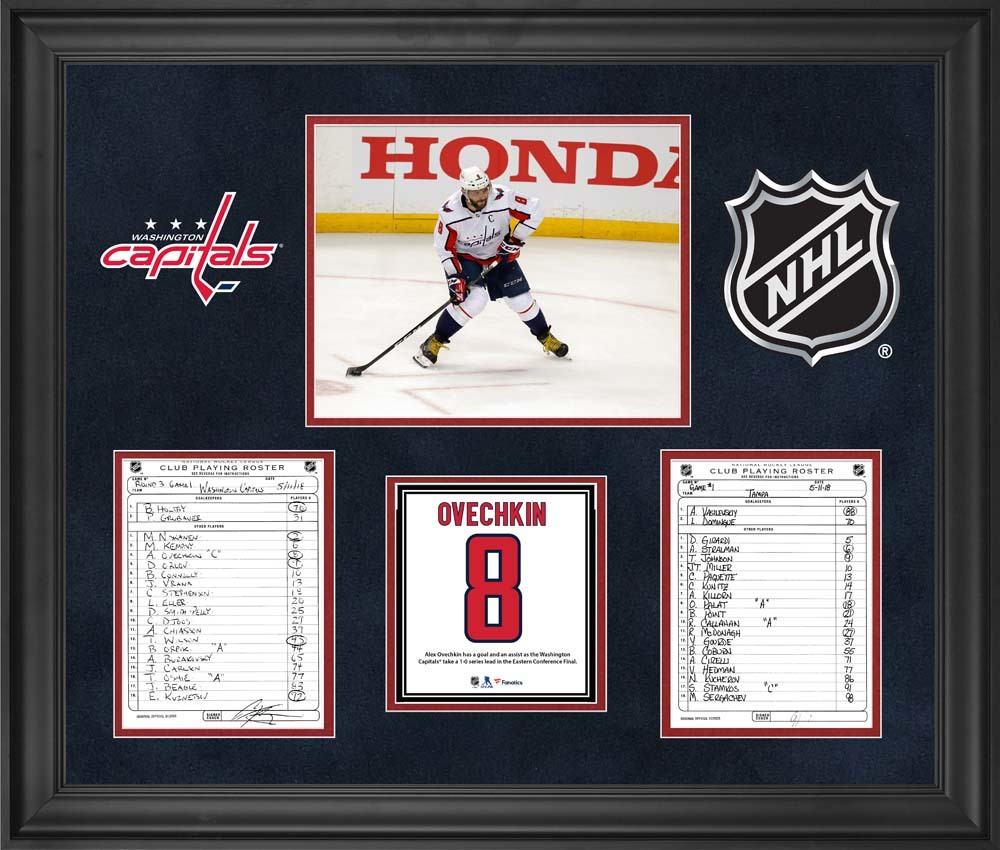 Washington Capitals Framed Original Line-Up Cards from Game 1 of the 2018 Eastern Conference Final on May 11, 2018 vs. Tampa Bay Lightning - Alex Ovechkin Records a Goal and an Assist
