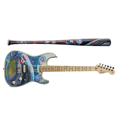 Photo of One-of-a-kind Artist-Painted Blue Jay's Louisville Slugger Bat and Fender Stratocaster Guitar