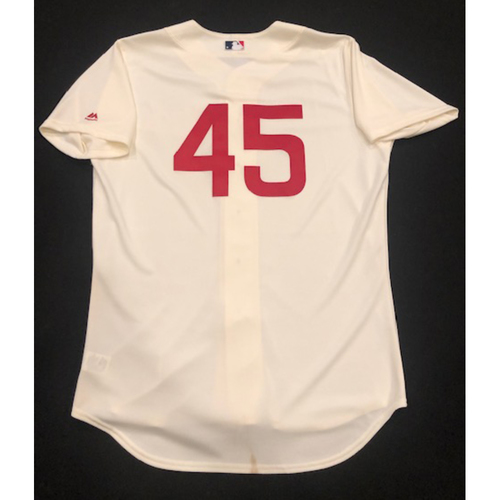 Photo of Freddie Benavides -- Game-Used 1936 Throwback Jersey -- Cubs vs. Reds on June 30, 2019 -- Jersey Size 48