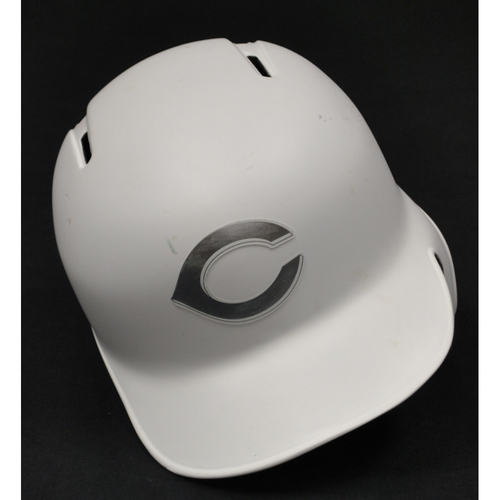"Photo of Jose ""MY LITTLE ONES"" Peraza Cincinnati Reds Game-Used 2019 Players' Weekend Helmet"