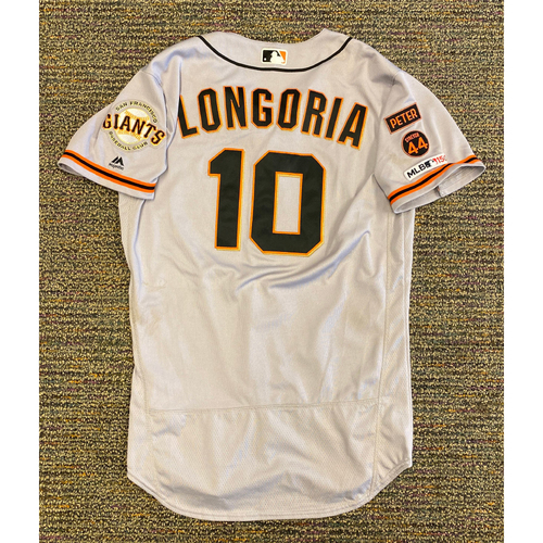 Photo of 2019 Game Used Road Alt Jersey worn by #10 Evan Longoria on 9/22 @ ATL - 2-5, 2 RBI, R, 2B - Size 42