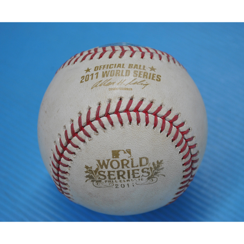 Photo of Game-Used Baseball - 2011 World Series - Game 4 - Pitcher: Derek Holland, Batter: David Freese - Grounds into Double Play - 5th Inning