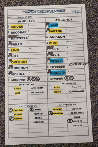Photo of Authenticated Game Used Lineup Card (August 17, 2010 at OAK): Coco Crisp goes 3-for-4 with 1 RBI