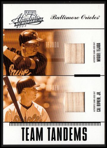 Photo of 2004 Absolute Memorabilia Team Tandem Material #4 Miguel Tejada Bat/Cal Ripken Bat
