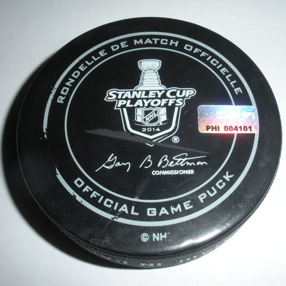 Carl Hagelin - New York Rangers - Goal Puck - April 29, 2014 - Eastern Conference First Round, Game 6 (Flyers/Stanley Cup Logo)