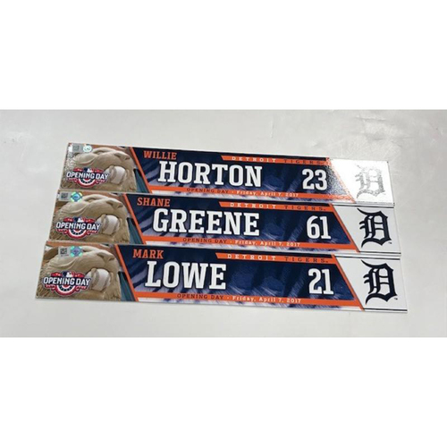Photo of Opening Day Locker Name Plates: Team-Issued Willie Horton, Team-Issued Mark Lowe & Game-Used Shane Greene