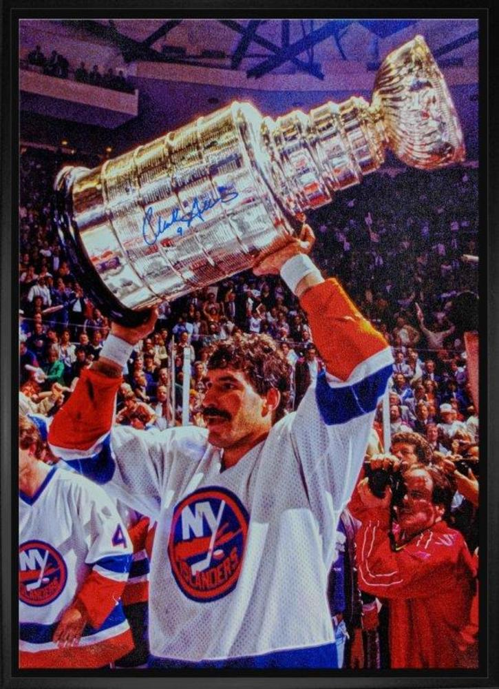 Clark Gillies Signed 20x29 Canvas Framed - Islanders White Raising Cup