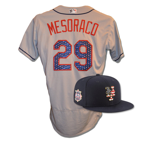 Photo of Devin Mesoraco #29 - Game Used 4th of July Jersey and Hat - Mets vs. Blue Jays - 7/4/18