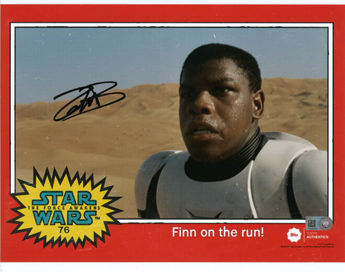 John Boyega as FN-2187 8x10 Autographed in Black Ink Photo - 1977 Topps Design