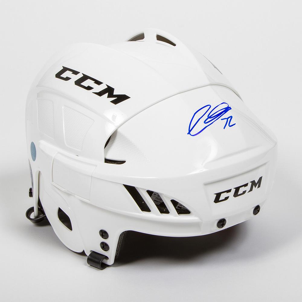Thomas Chabot Autographed White CCM Hockey Helmet - Ottawa Senators