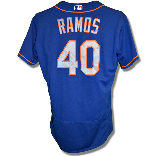 Photo of Wilson Ramos #40 - Game Used Blue Alt. Road Jersey - 1-4, 2B - Mets vs. Phillies - 9/1/2019