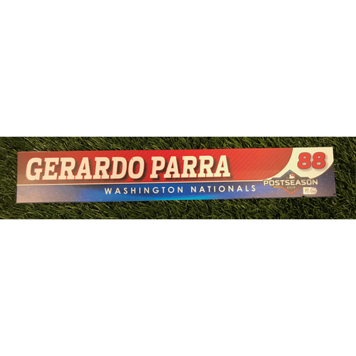 Photo of Game-Used Gerardo Parra 2019 Postseason Locker Tag