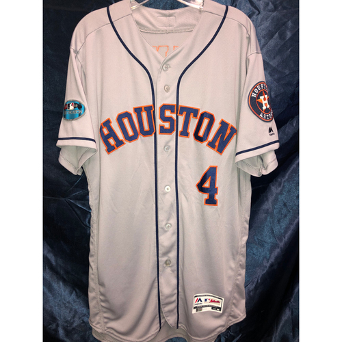 Photo of George Springer Team-Issued 2018 Postseason Road Gray Jersey (Size 46)