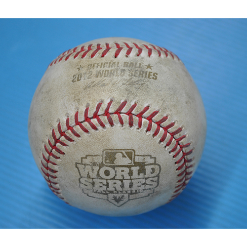 Photo of Game-Used Baseball - 2012 World Series - Game 3 - Pitcher: Anibal Sanchez, Batter: Pablo Sandoval - Pitch in Dirt - 6th Inning
