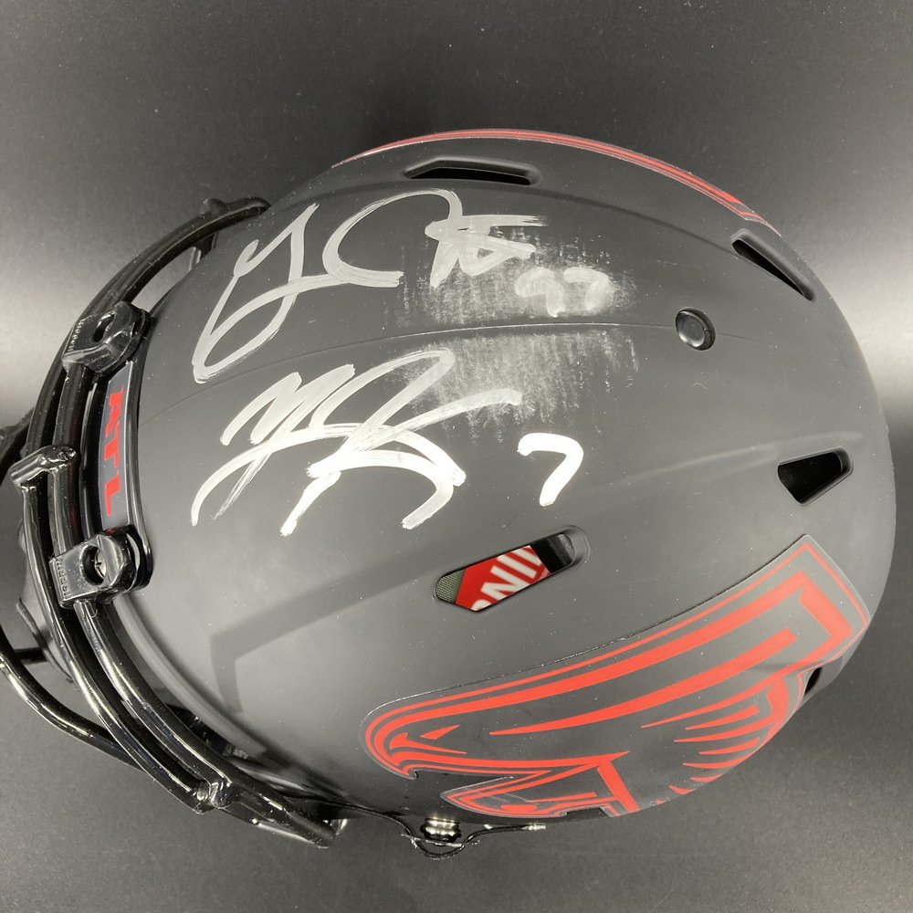NFL - Falcons Eclipse Helmet Signed by Younghoe Koo and Grady Jarrett (smudged signature)