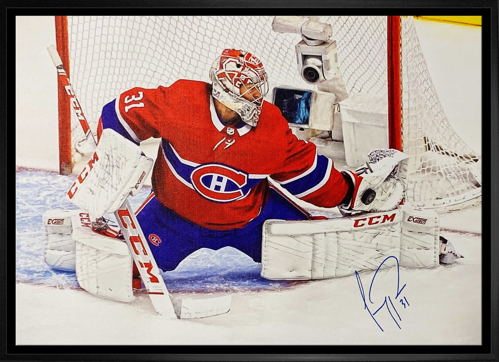 Carey Price Signed 20x29 Canvas Framed Canadiens Glove Save-H