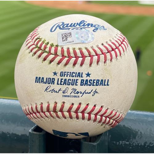 Photo of Game-Used Baseball - Pitcher: Blake Snell, Batter: Charlie Blackmon (Single to Pham) - May 12, 2021 - Game 2