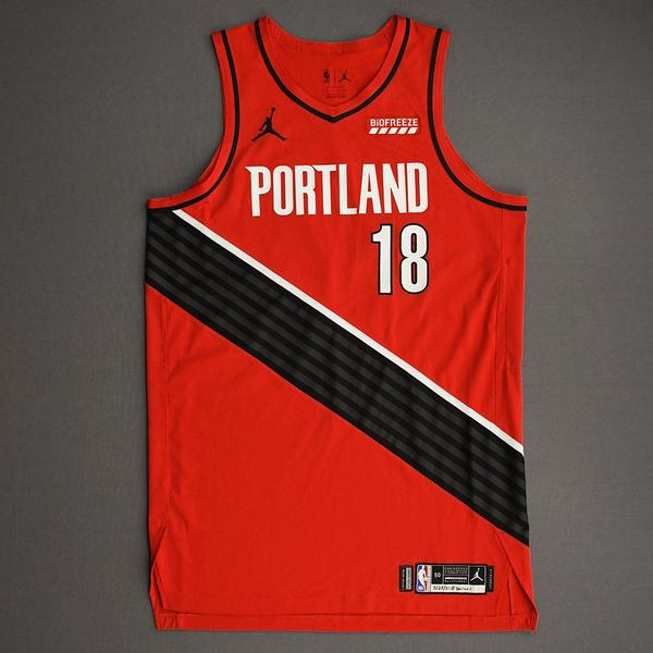 Image of T.J. Leaf - Portland Trail Blazers - Game-Worn Statement Edition Jersey - Dressed, Did Not Play (DNP) - 2021 NBA Playoffs