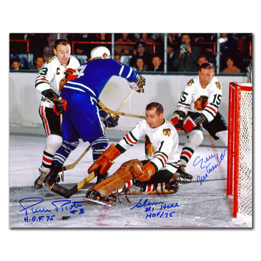 Pierre Pilote Glenn Hall & Eric Nesterenko Chicago Blackhawks Autographed 8x10