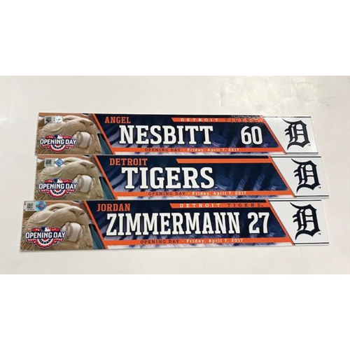 Photo of Opening Day Locker Name Plates: Game-Used Jordan Zimmermann, Team-Issued Angel Nesbitt & Game-Used Detroit Tigers