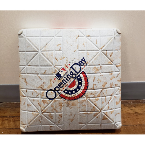 Photo of Game-Used Opening Day Base: Toronto Blue Jays at Tampa Bay Rays - 2nd Base Used in Innings 7-9 - 3/31/14