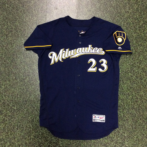 Photo of Keon Broxton 2018 Game-Used Navy Ball & Glove Jersey (6/29 - 2-HR Game)