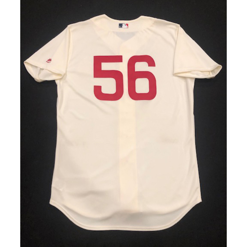 Photo of J.R. House -- Game-Used 1936 Throwback Jersey -- Cubs vs. Reds on June 30, 2019 -- Jersey Size 46