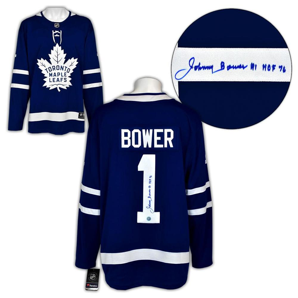 Johnny Bower Toronto Maple Leafs Autographed Fanatics Hockey Jersey