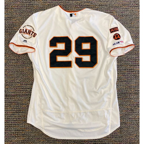 Photo of 2019 Game Used Home Cream Jersey worn by #29 Jeff Samardzija for 3 wins! vs. COL, STL & PHI - Size 50
