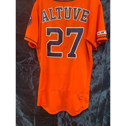 Photo of 2019 Game-Used Jose Altuve Orange Alt Jersey (Size 40)