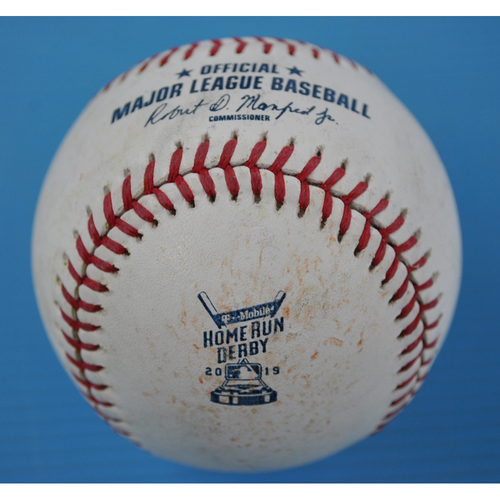 Photo of Game-Used Baseball - 2019 Home Run Derby - Carlos Santana Round 1 - Out