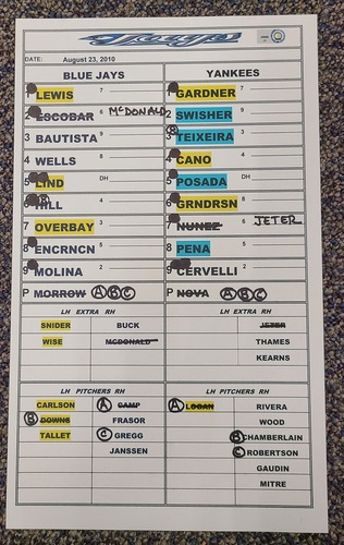 Photo of Authenticated Game Used Lineup Card (August 23, 2010 vs NYY): 39th and 40th HRs of Season for Jose Bautista (Franchise Record 54 HR Season)