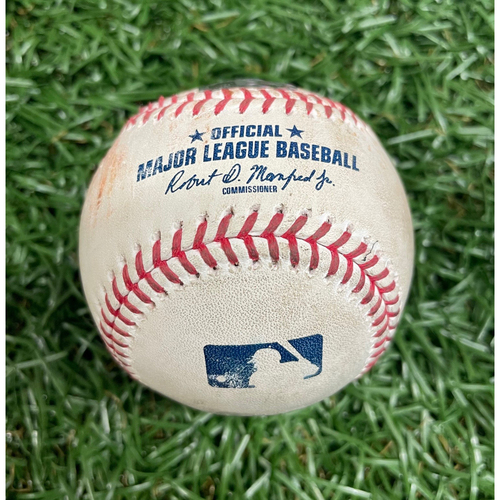 Photo of Game Used Baseball: Aaron Hicks single off Ryan Thompson - Game #2 of DH - Top 1 - August 8, 2020 v NYY