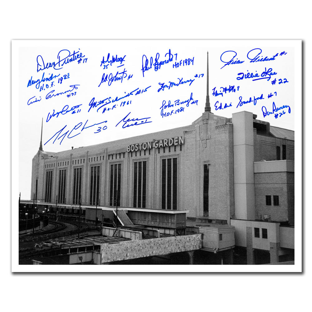 Boston Garden Stadium Boston Bruins Legends Autographed 16x20 Signed by 17