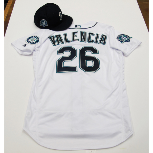 Photo of Danny Valencia White Game-Used Jersey & Cap With Edgar Martinez Patch 8-12-2017 - Sizes: Jersey - 46, Cap 7 3/8