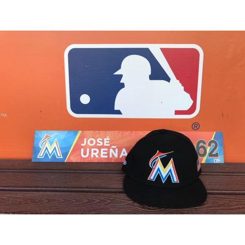Photo of Game-Used Cap & Locker Tag: Jose Ureña (Size - 7 1/4 )