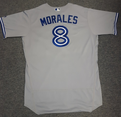 Photo of Authenticated Game Used Jersey - #8 Kendrys Morales (June 10, 2017). Morales went 1-for-4 with 1 HR, 1 Run and 2 RBIs. Size 50
