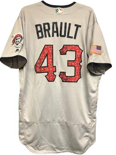 Photo of Steven Brault Game-Used Stars & Stripes Jersey