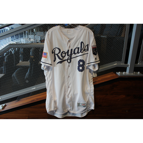 Photo of Game-Used Stars & Stripes Jersey: Mike Moustakas (Size 48 - CLE @ KC - 7/4/18)